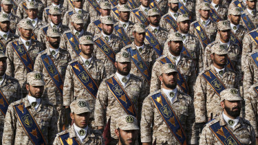Revolutionary Guard troops attend the parade which also showcased weapons and  naval military might.