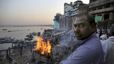 Funeral pyres on the banks of the Ganges.