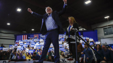 Sanders, accompanied by his wife Jane, speaks during a primary night election rally in Vermont earlier last week.