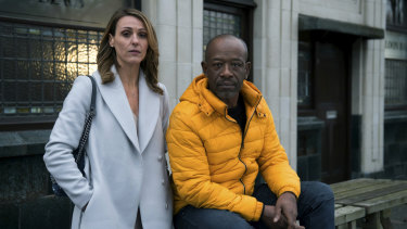 "Suranne Jones as Claire McGory and Lennie James as Nelson ""Nelly"" Rowe in Save Me."