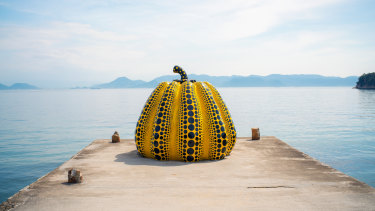 Trailblazer: Kusama's giant pumpkin sculpture, Naoshima Art island, Japan.