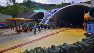 Flooded tunnel in Zhuhai city in south China's Guangdong province.