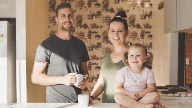 Jon and Rebeccca Kiddey, with their 3-year-old daughter Matilda. Photo: Jamila Toderas