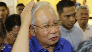 Defeated Malaysian Prime Minister Najib Razak as he prepares to 'concede'.