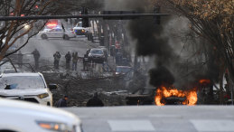 A car on fire after the explosion.