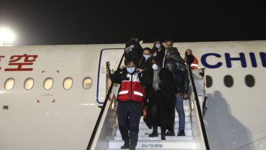 A Chinese aid team arrives at Fiumicino Airport in Rome, carrying members of a medical team and several tons of medical supplies.