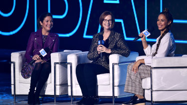 Sophie Gregoire Trudeau, left, was on a panel with Julia Gillard and Leona Lewis in London last week.