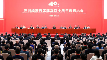 Chinese President Xi Jinping, centre, and other leaders at the 40th anniversary of the establishment of the Shenzhen Special Economic Zone.