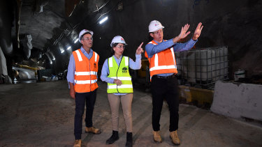 Transport Minister Andrew Constance, Premier Gladys Berejiklian and Transport for NSW secretary Rodd Staples inspect the station site.