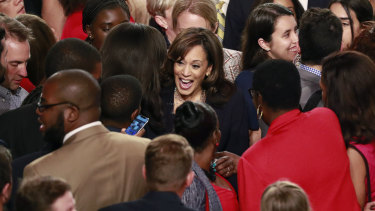 Kamala Harris is surrounded by supporters after the Democratic primary debate hosted by NBC News in Miami.