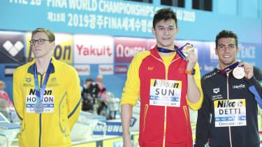 Australia's Mack Horton refuses to share the podium with Yang Sun at the swimming world championships in South Korea last year.