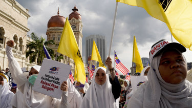 The Malaysian government warned protesters not to stir racial tensions with inflammatory statements.