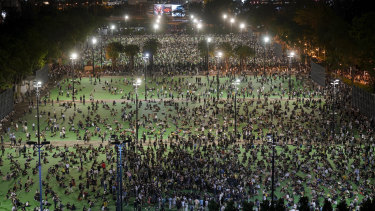 An aerial view of a vigil in Victoria Park, Hong Kong to mark the 31st anniversary of the Tiananmen Square Massacre.