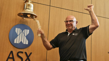 Nuix CEO Rod Vawdrey ringing the bell to announce Nuix's public listing on the ASX.