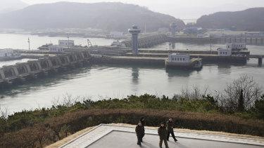 The West Sea Barrage in Nampo, North Korea.