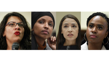 Representatives denounced by Trump. From left: Rashida Tlaib, Ilhan Omar, Alexandria Ocasio-Cortez and Ayanna Pressley.