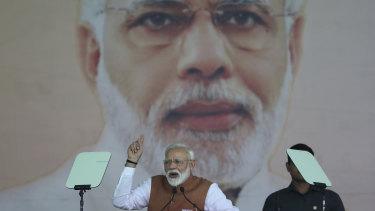 Prime Minister Narendra Modi at a campaign rally.