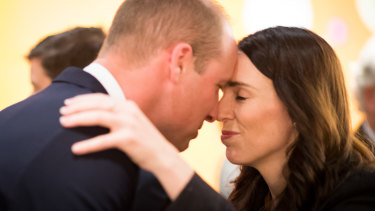 Prince William was greeted with a Hongi, a traditional Maori greeting, by Prime Minister Jacinda Ardern.