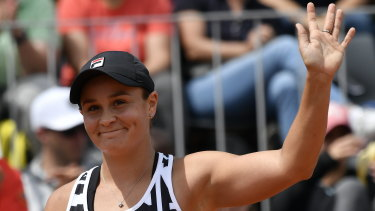 Solid start: Ash Barty salutes the crowd after her first-round win.