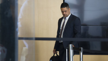 Jarryd Hayne arrives at Newcastle District Court on Tuesday.