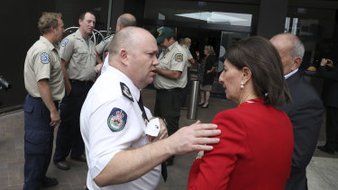 NSW Rural Fire Service Commissioner Shane Fitzsimmons with Premier Gladys Berejiklian.