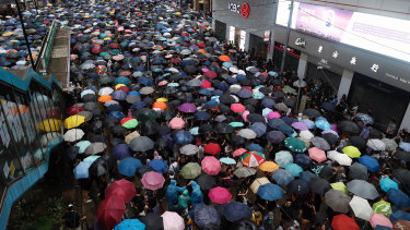 The latest demonstration, in pouring rain, was largely peaceful.