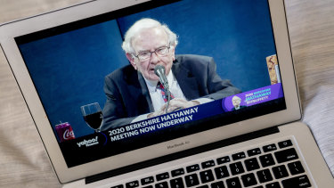 Sign of the times: Billionaire investor Warren Buffett addressed Berkshire Hathaway shareholders in an online meeting this year.