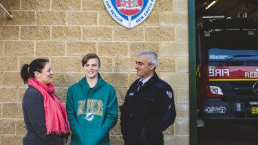 TJ Campagna and his mum Alanna, who were involved in a crash on the Kings Highway in 2017, reunite with the Braidwood firefighters who were first on the scene after the crash, including Tim Wimborne.