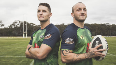 """Canberra Raiders' new """"chalk and cheese"""" co-captains, Jarrod Croker and Josh Hodgson."""