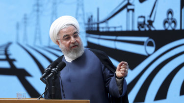 Iran President Hassan Rouhani speaks in a conference in Tehran.