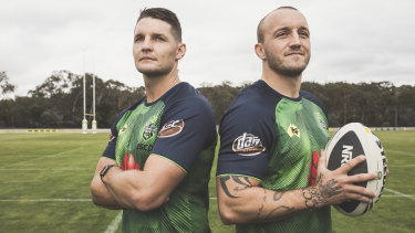 "Canberra Raiders' new ""chalk and cheese"" co-captains, Jarrod Croker and Josh Hodgson."