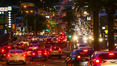 Peak hour traffic heading south towards Hurstville on King Georges Road at Beverly Hills.
