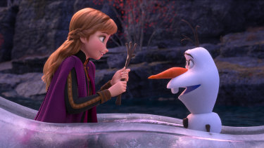 Anna (voiced by Kristen Bell) and Olaf (Josh Gad) in Frozen 2.
