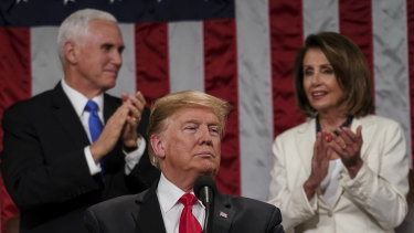 President Donald Trump giving his State of the Union speech.