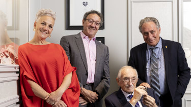 Nadia, Michael, cousin Jacob and father Fred Neuman at the family's Mondial Pink Diamond Atelier in Sydney's CBD.