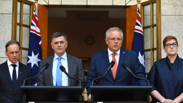 Minister for Health Greg Hunt, Chief Medical Officer Professor Brendan Murphy, Prime Minister Scott Morrison and Minister for Foreign Affairs Marise Payne announce that evacuees from Hubei Province in China will be sent to Christmas Island for quarantine.