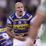 Roughed up: In-form Eels winger Blake Ferguson tried to play on with a painkilling injection. for his ribs.