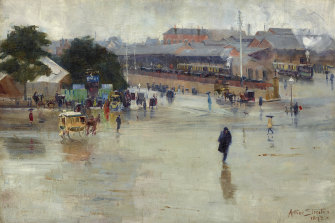 The AGNSW retrospective showed Arthur Streeton at his best: 'The railway station, Redfern' (1893).