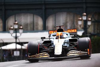 Ricciardo drives his McLaren in qualifying.