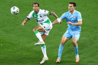 Alessandro Diamanti gets the ball for Western United ahead of Melbourne City's Curtis Good last week.