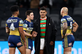 Latrell Mitchell after the Eels triumph last Thursday.