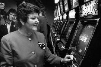 Premier Joan Kirner in August 1992 with one of the state's first legal gaming machines.