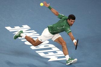 Novak Djokovic during last year's Australian Open final.