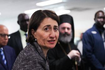 Premier Gladys Berejiklian at the Sydney Olympic Park mass vaccination hub on Wednesday.