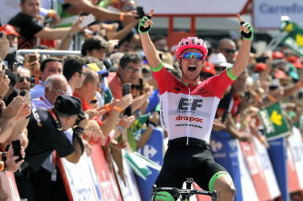 Australia's Simon Clarke celebrates his win in the fifth stage of the Vuelta last year.