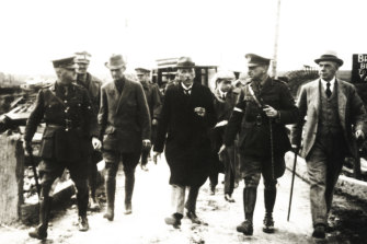 General John Monash (second right) conducts prime minister Billy Hughes (centre) and others through newly occupied territory in Belgium during World War I. Hughes was responsible for the War Precautions Act of 1914, which gave the government tremendous power.