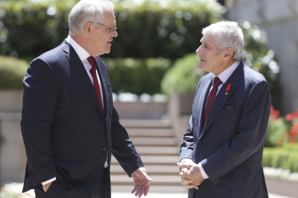 Scott Morrison and Channel Seven owner and Australian War Memorial chairman Kerry Stokes at a Remembrance Day ceremony.