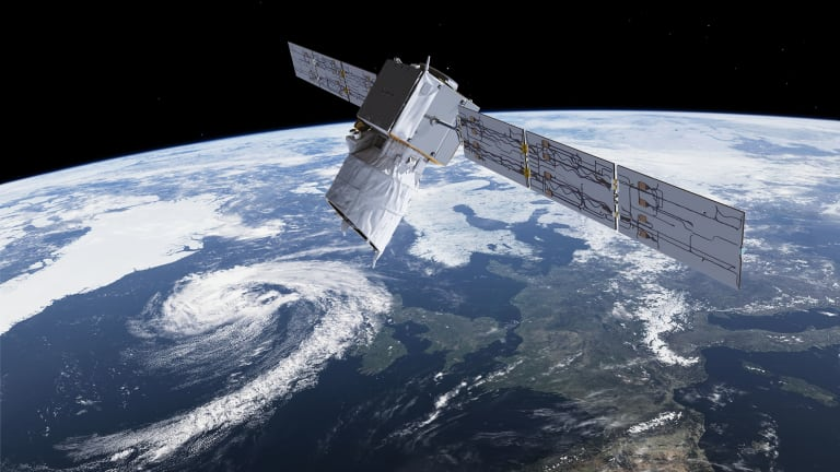 An artists rendering of the Aeolus satellite which will provide timely and accurate profiles of the world's winds and further information on aerosols and clouds.