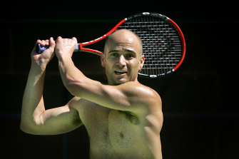 Andre Agassi trains in Melbourne for the Australian Open in 2005.