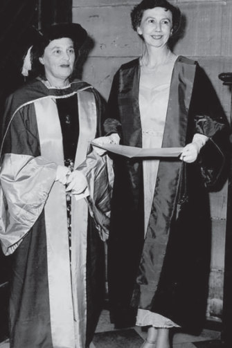Claire Weekes receiving her second degree at Sydney University.